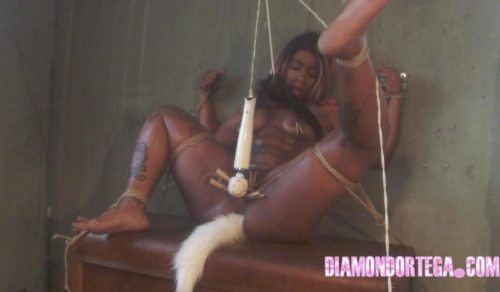Bondage play with clothespins featuring Diamond Ortega